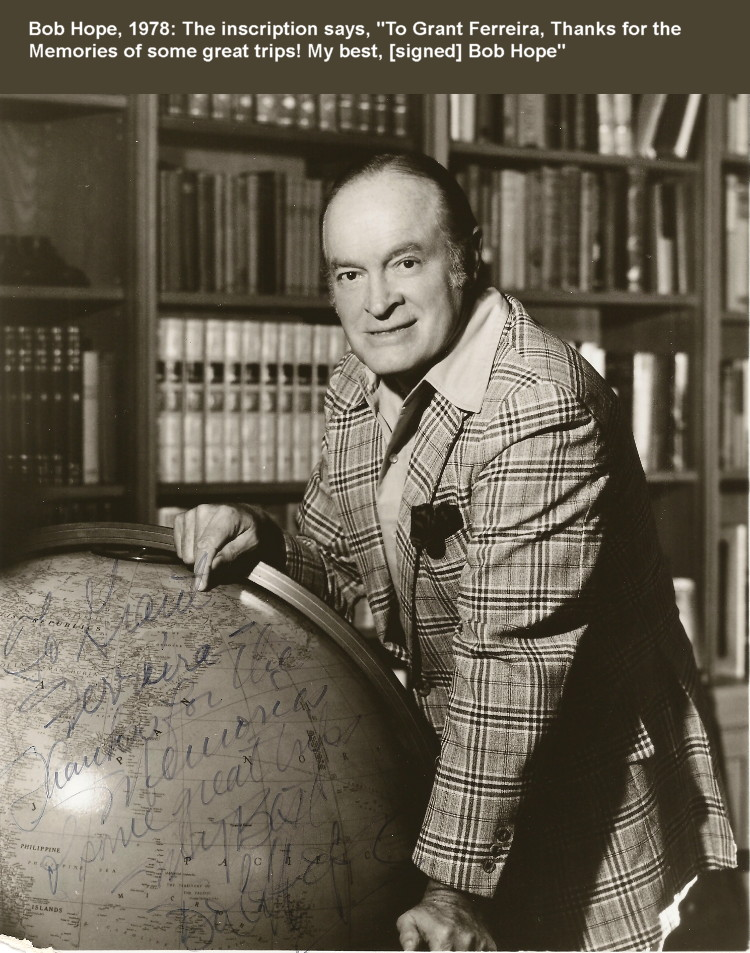 Bob Hope, 1978, sent by Grant Ferreira